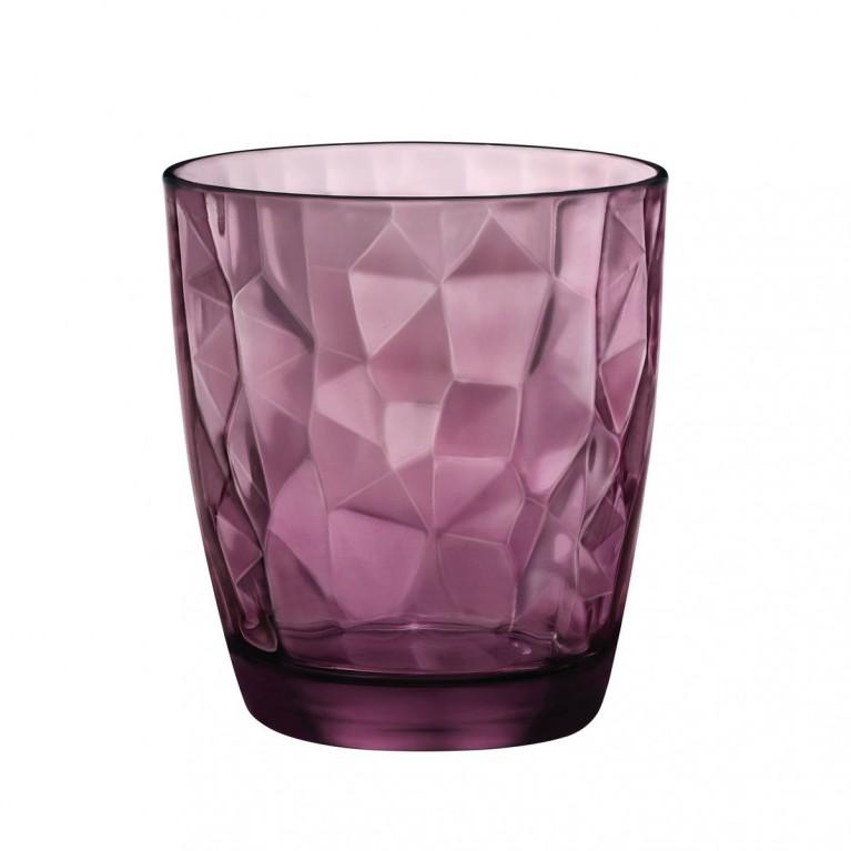 Bormioli Diamond set 6 bicchieri acqua. Colore Rock purple.