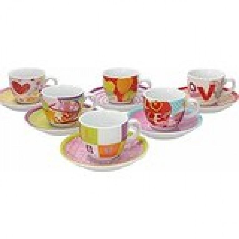 Tognana iris love set 6 tazzine caffè con piattino